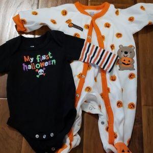 First Halloween onesie and footie pj